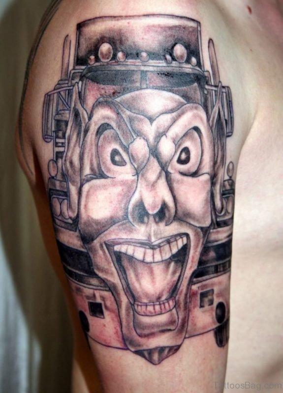 Joker Mask Tattoo On Shoulder