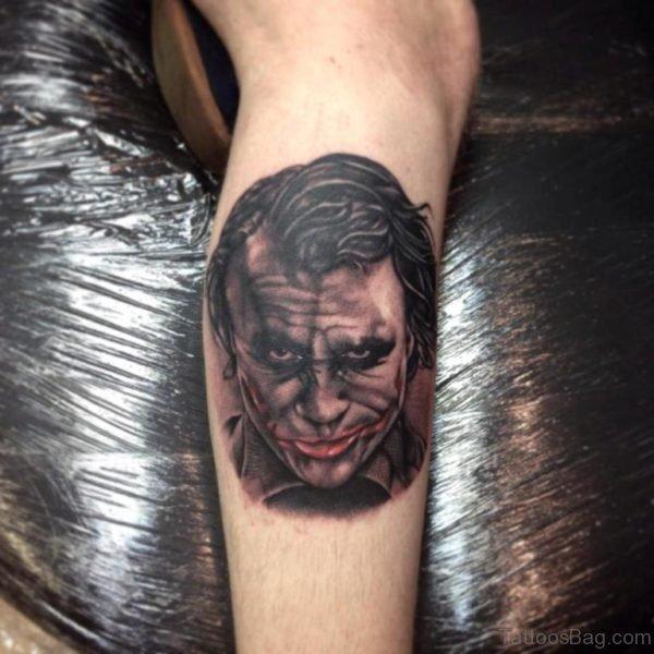 Joker Portrait Tattoo On Leg