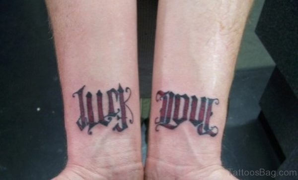 Just Love Ambigram Tattoo