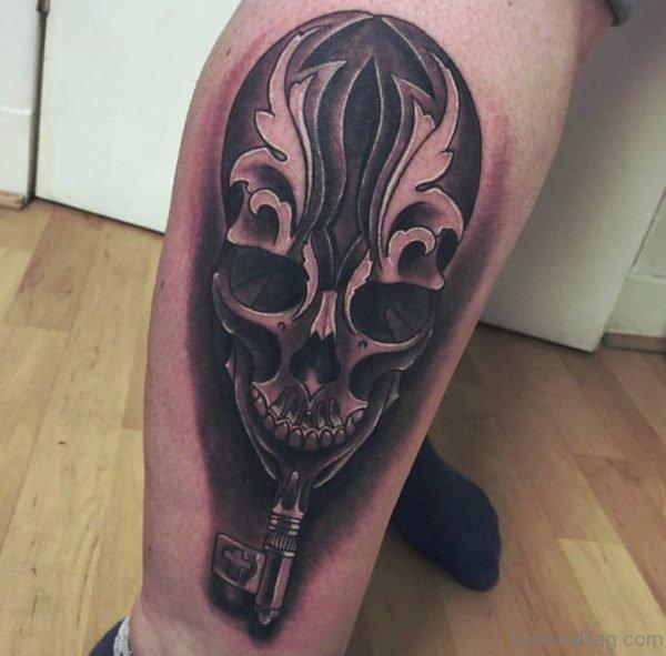 Key And Skull Tattoo