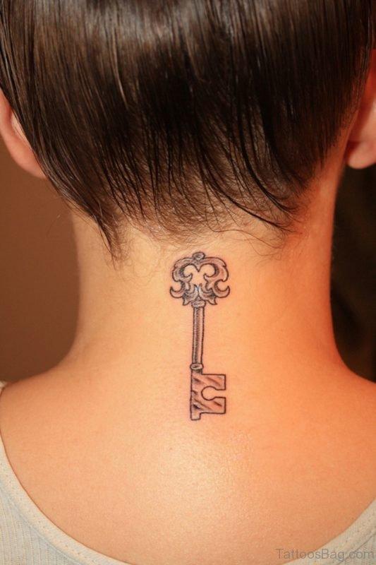 Key Neck Tattoo