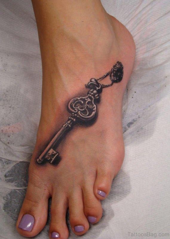 Key Tattoo Design On Foot