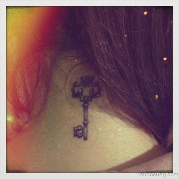 Key Tattoo On Neck