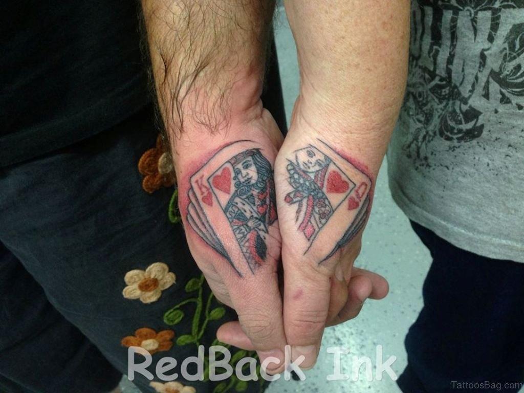 4dadae1913baa King And Queen Of Hearts Cards Tattoo On Couple Wrist