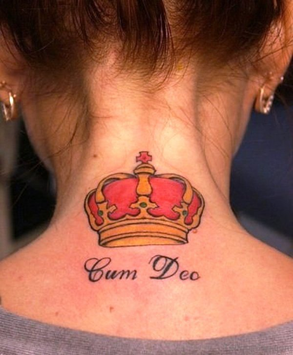 King Crown Neck Tattoo