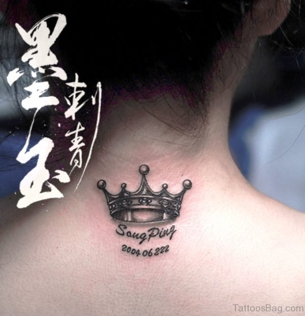 King Crown Tattoo On Neck