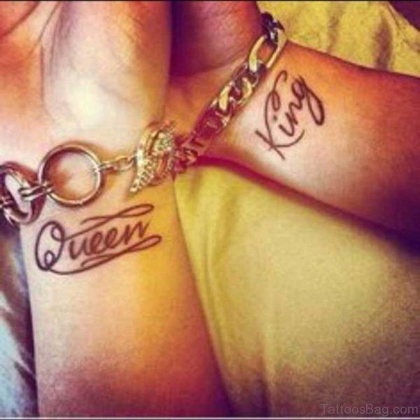 King Queen Word Tattoo