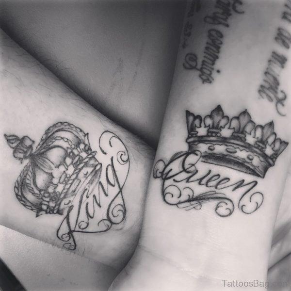 King Queen crown Tattoo On Wrist