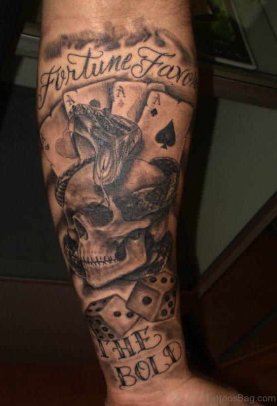 King Skull Tattoo On Leg