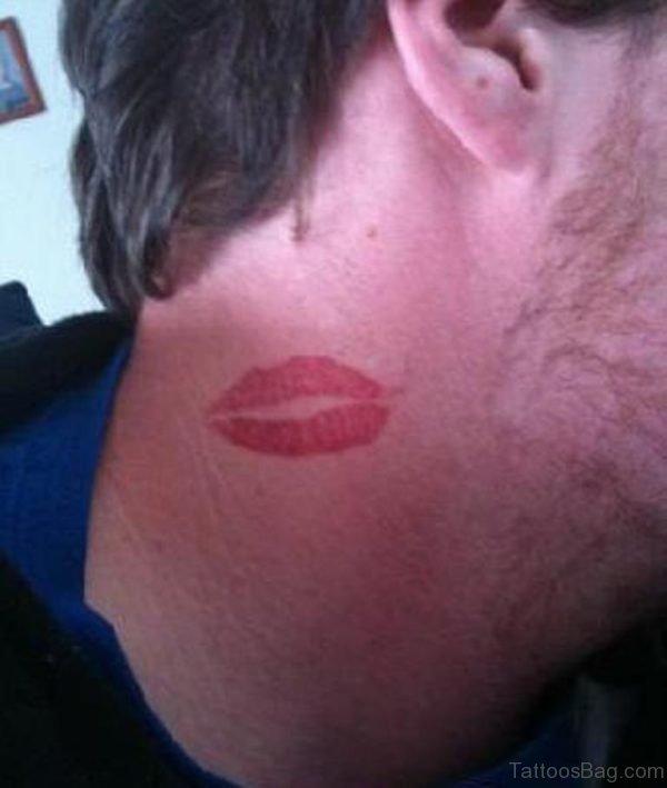 Kiss Tattoo Design On Neck