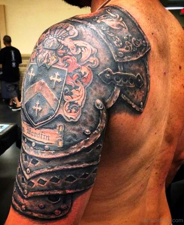 Knight Armour Shoulder Tattoo