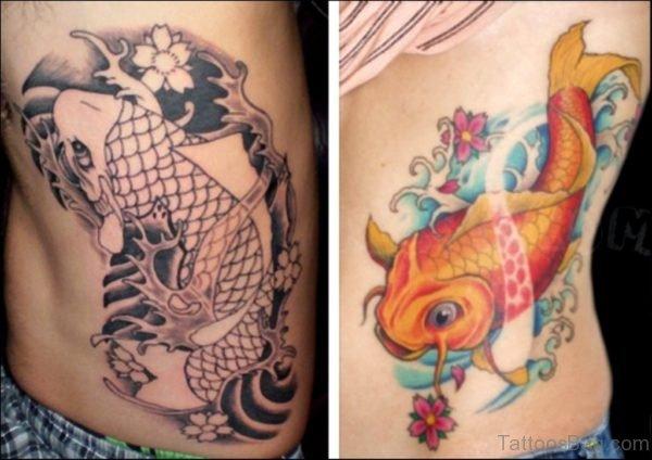 Koi Fish Aqua Tattoo On Rib