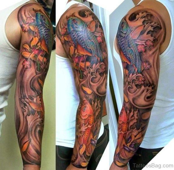 Koi Fish Tattoo On Full Sleeve