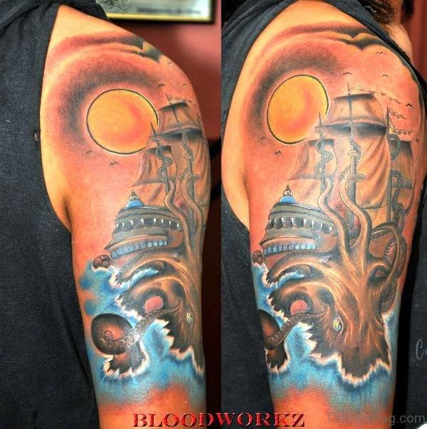Kraken And Ship Tattoo On Shoulder