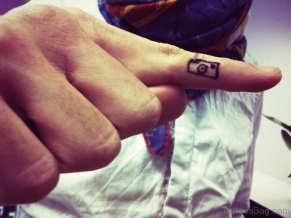 Lovely Camera Tattoo On Finger