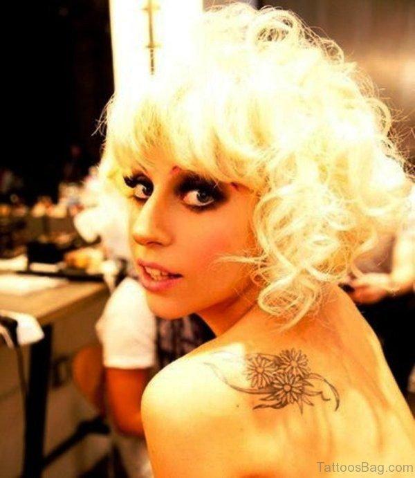 Lady Gaga Flower Tattoos On Shoulder Back
