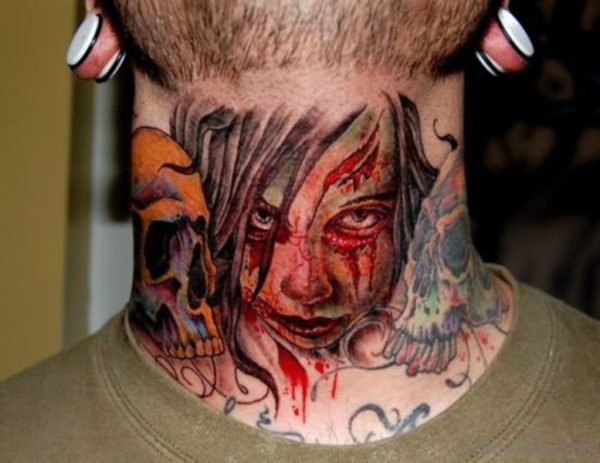 Lady Gangster Tattoo On Neck