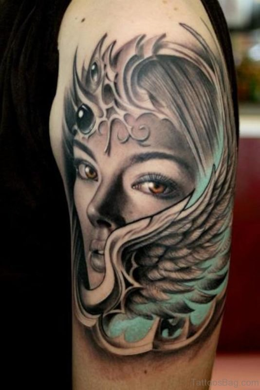 Lady With Wings Tattoo