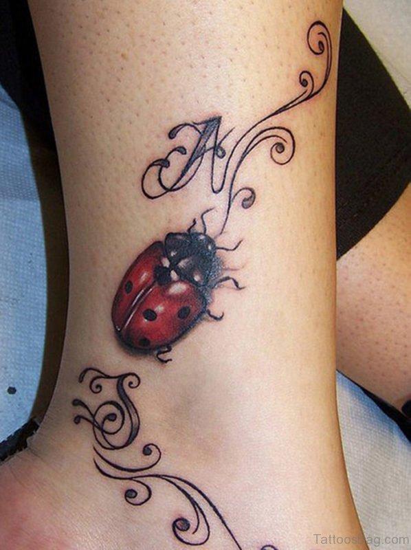 Ladybug Ankle Tattoo