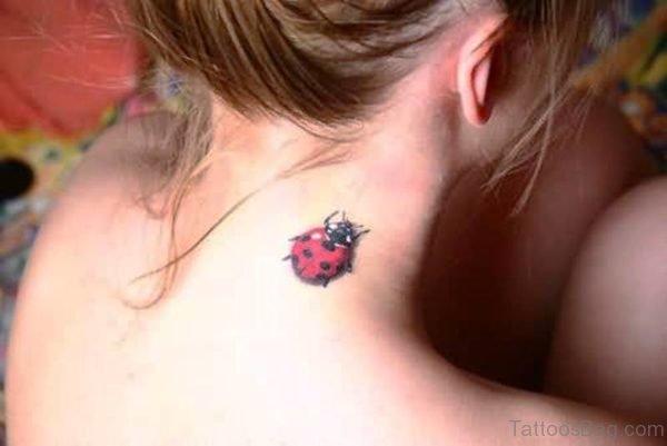Ladybug Tattoo On Neck