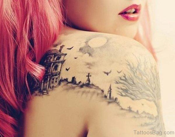 Landscape Shoulder Tattoo For Women