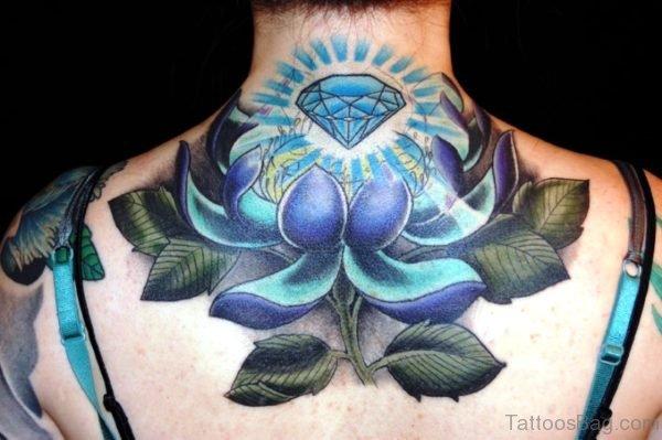 Large Back Neck Lotus Tattoo