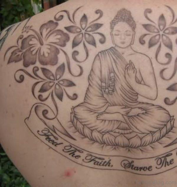 Large Buddhist Religious Tattoo On Back