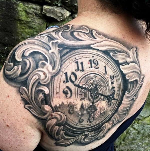 Large Clock Tattoo On Shoulder Back