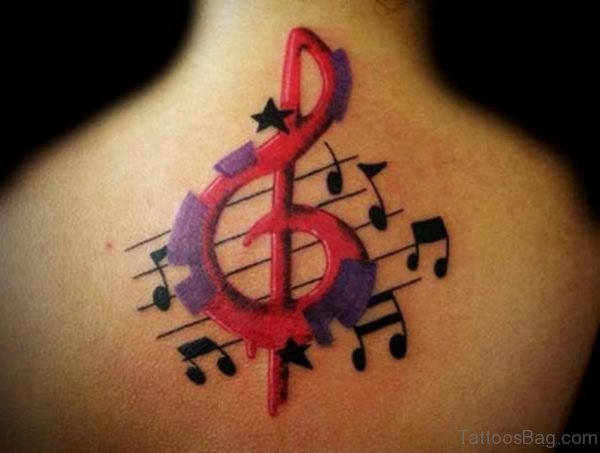 Large Colorful Music Tattoo On Neck Back