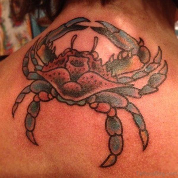 Large Crab Tattoo On Neck Back