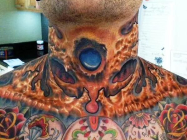 Large Crown Neck Tattoo