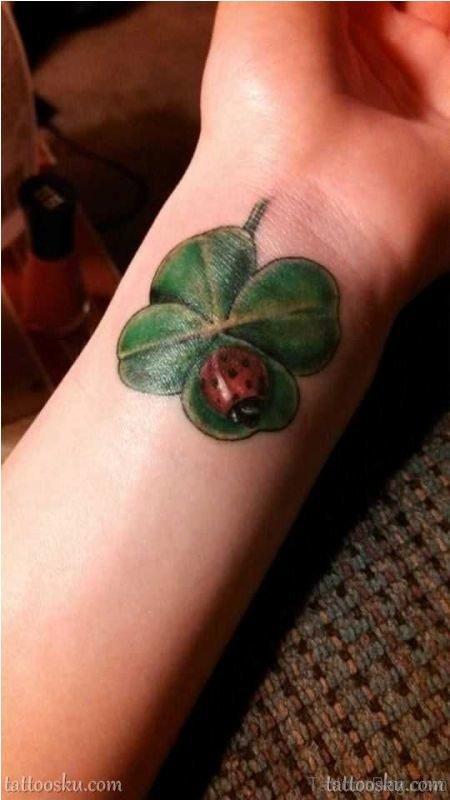 Large Four Leaf Tattoo On Wrist