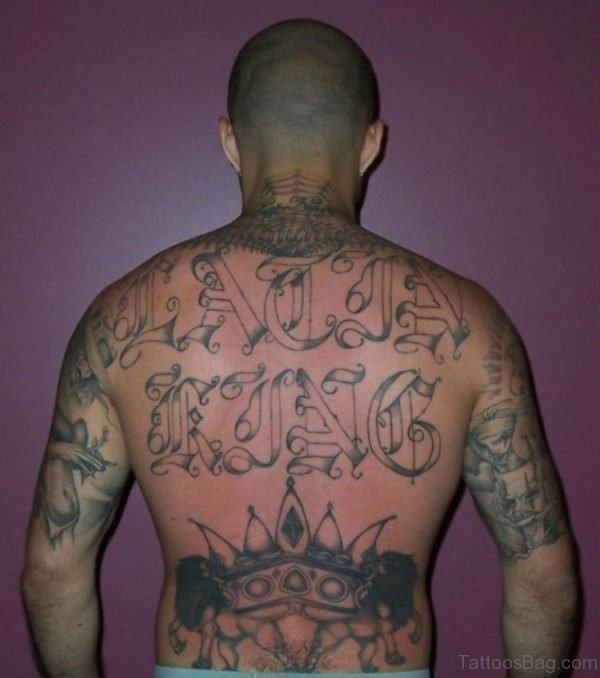 Large Gangster Tattoo On Neck