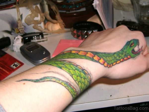 Large Green Snake Wrist Tattoo