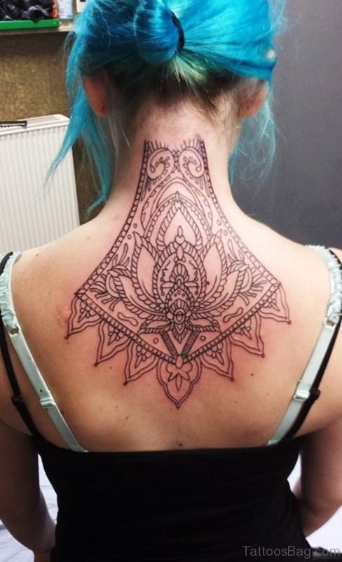 Large Lotus Neck Tattoo