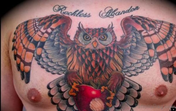 Large Owl And Heart Tattoo