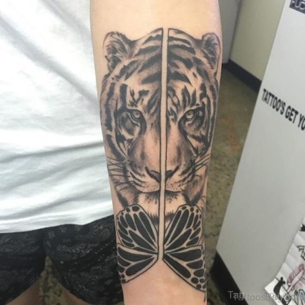 Large Tiger Tattoo On Wrist