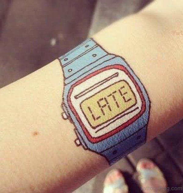 Late Clock Tattoo On Wrist