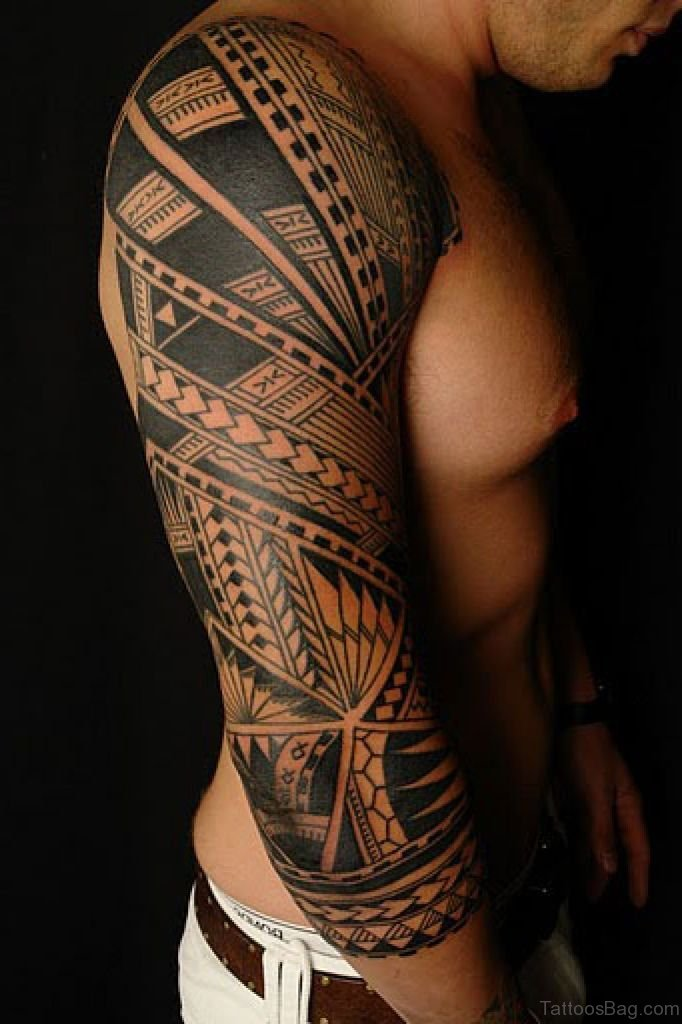 5a52d3d1afa27 53 Graceful Tribal Tattoos On Full Sleeve