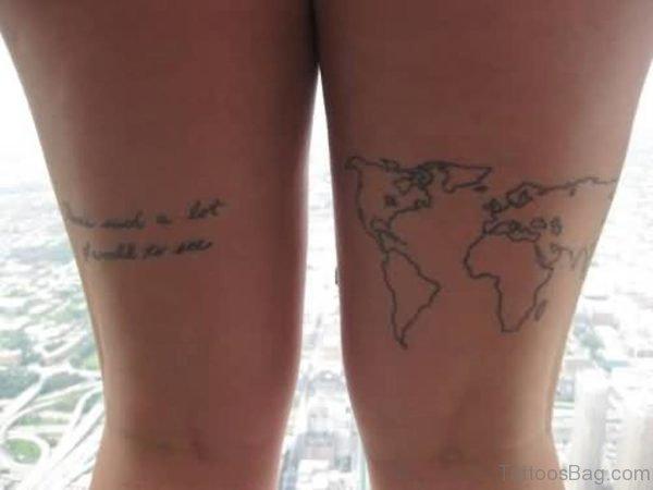 Latest World Map Tattoo On Thigh
