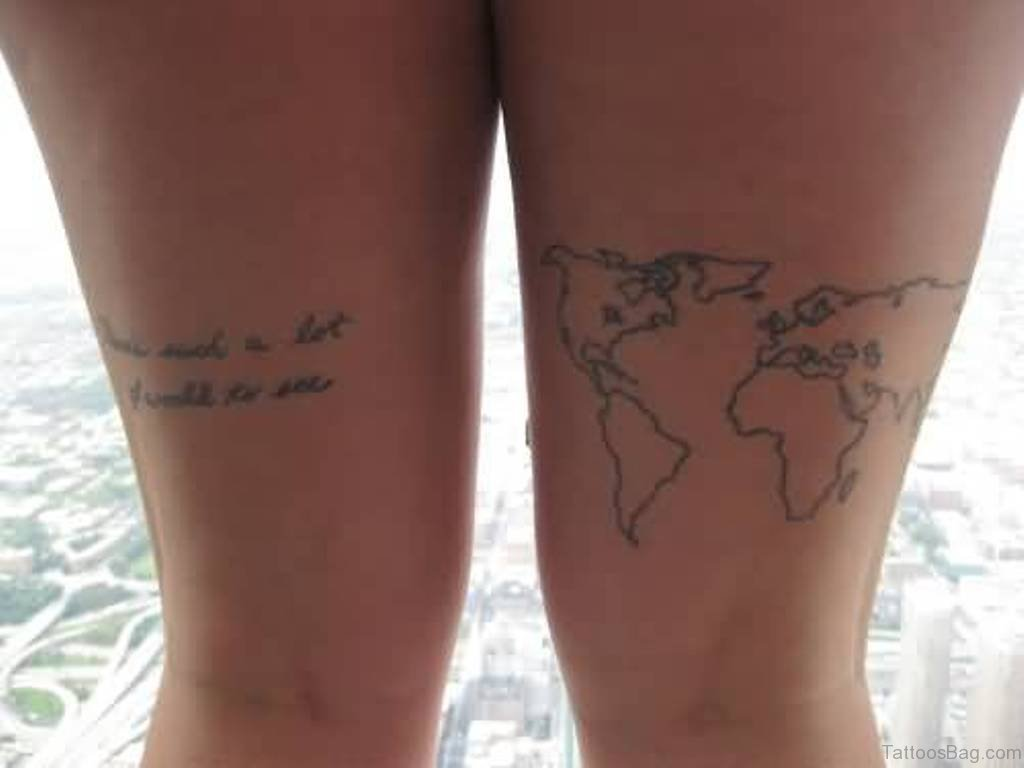 22 world map tattoos for thigh latest world map tattoo on thigh gumiabroncs Image collections