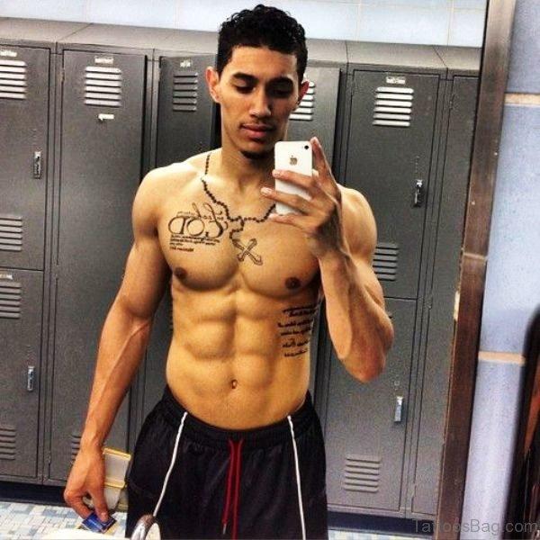 Latino Rosary Tattoo On Neck