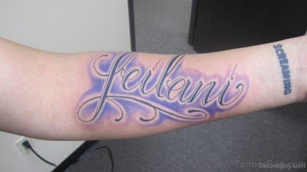 Latino Wording Tattoo On Arm