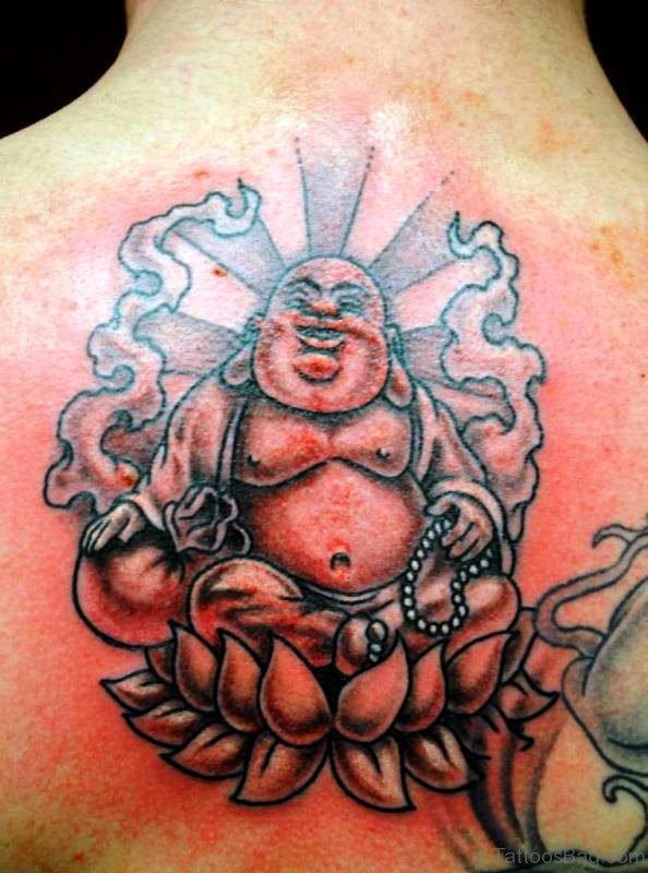 Laughing Buddha On Lotus Tattoo