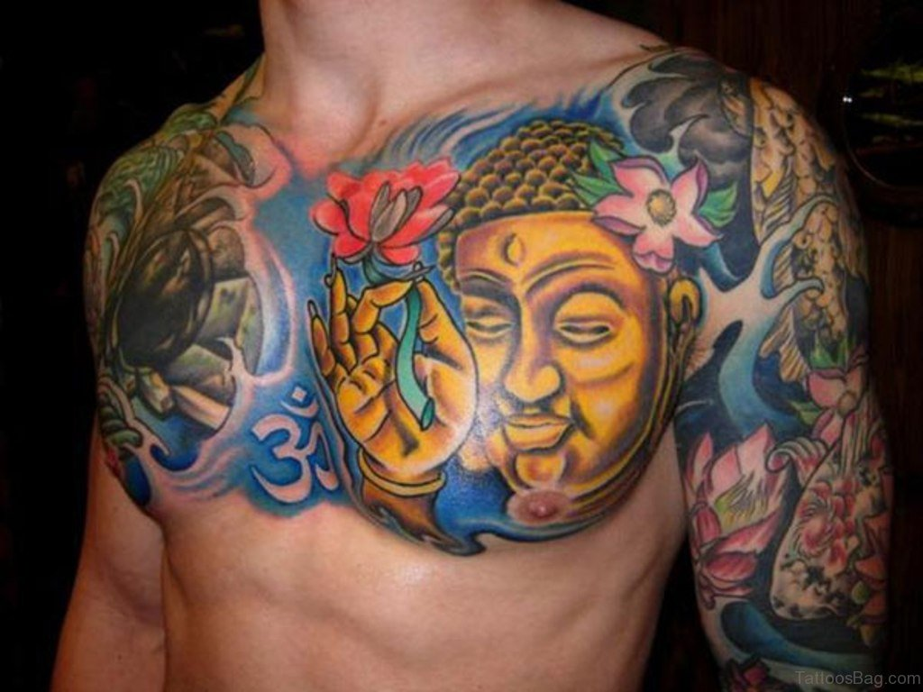 41 religious buddha tattoos for chest for Happy buddha tattoo