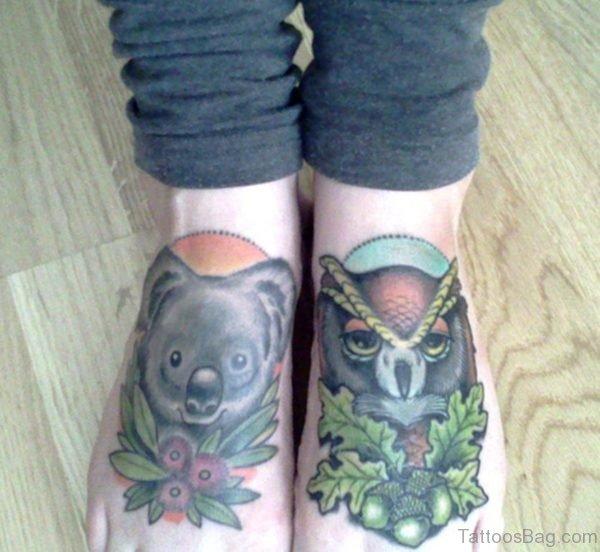 Leaf And Owl Tattoo