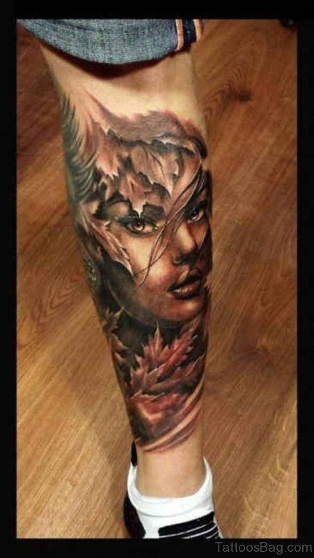 Leaf And Portrait Tattoo