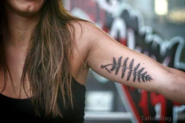 Leaf Tattoo On Bicep