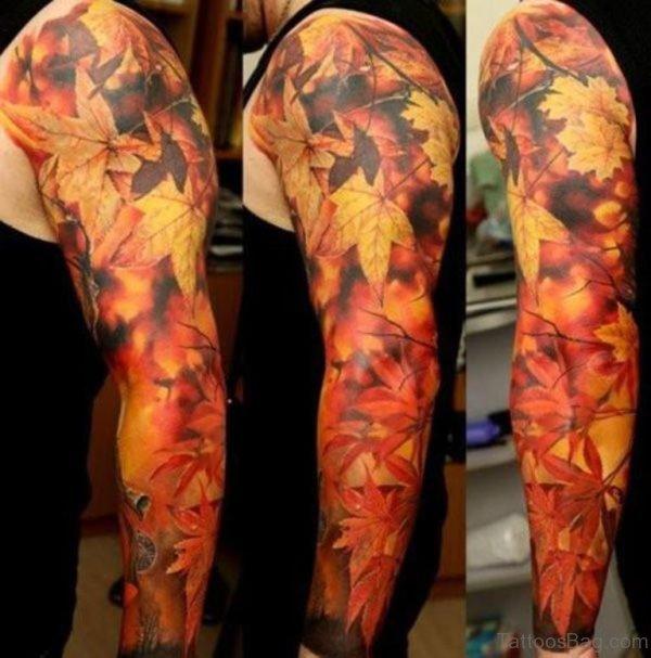 Leaf Tattoo On Full Sleeve