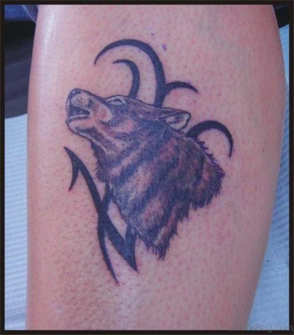 Leg Wolf Tribal Tattoo